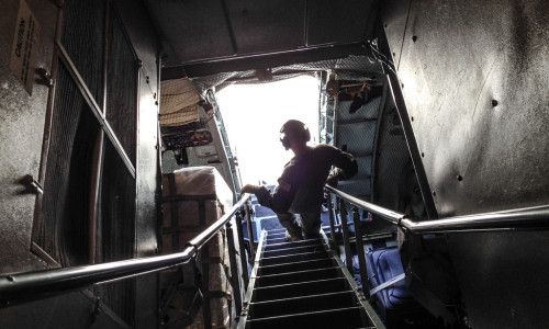 airman descending a staircase