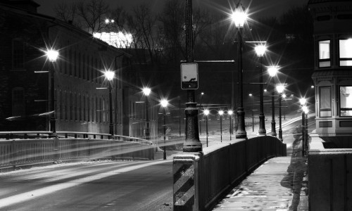 empty street during winter in black and white