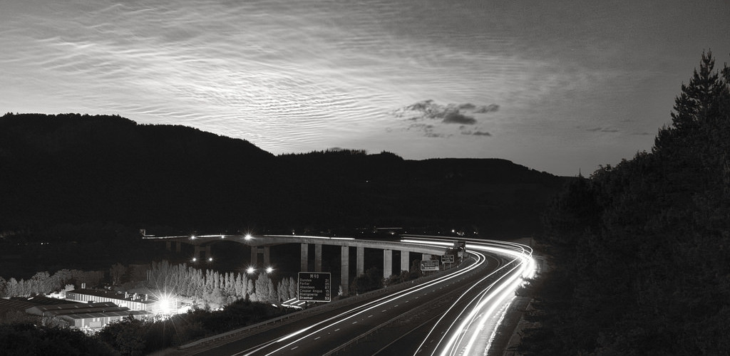 long exposure of the highway in black and white