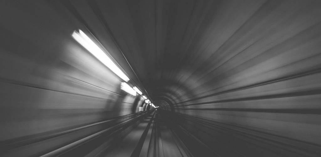 speeding through a tunnel