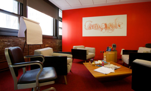 google's office with a red wall